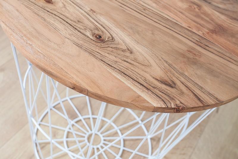 Konferenční stolek Storage - bílý, akácie / 38561