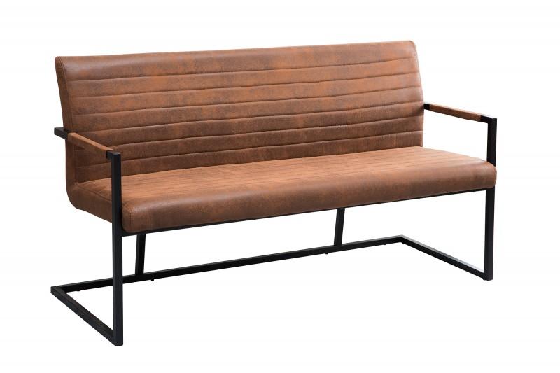 Loftová lavice 160cm vintage hnědá / 38198