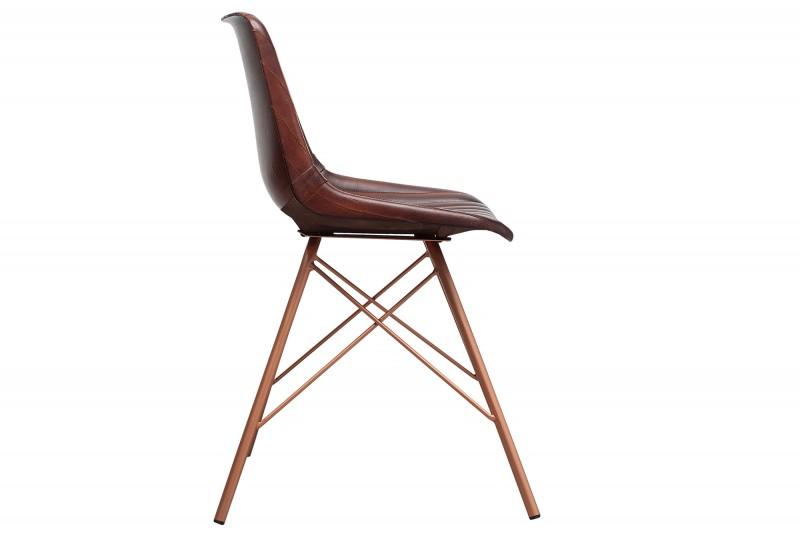 Jídelní židle Tehueco - hnědá kůže / 38482