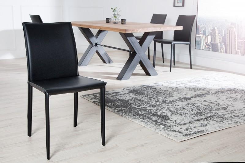 Černá kožená židle Milano / 4139
