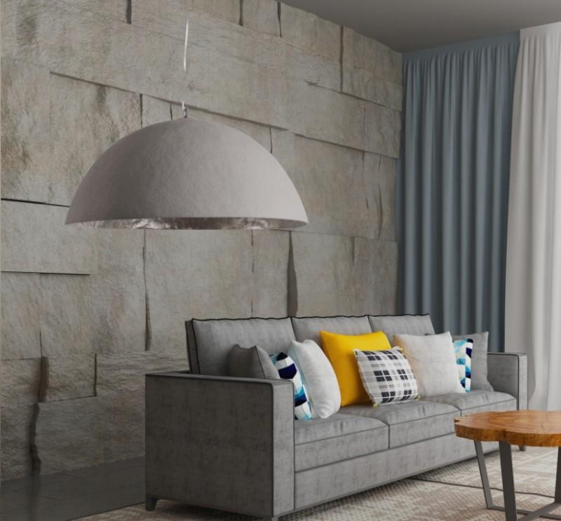Závěsné světlo Bennett - beton, stříbrná 70cm / 38866