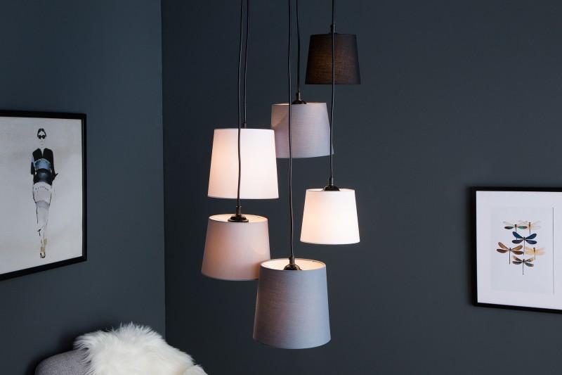 Závěsné světlo Friida IV - černá, šedá, bílá, béžová / 38821