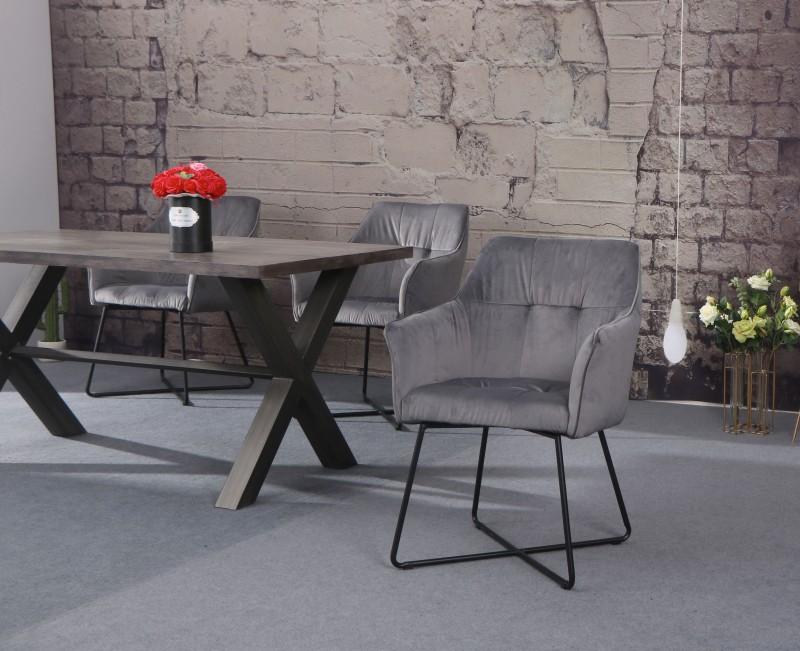 Jídelní židle Owen - sametová - stříbrná, šedá / 38860