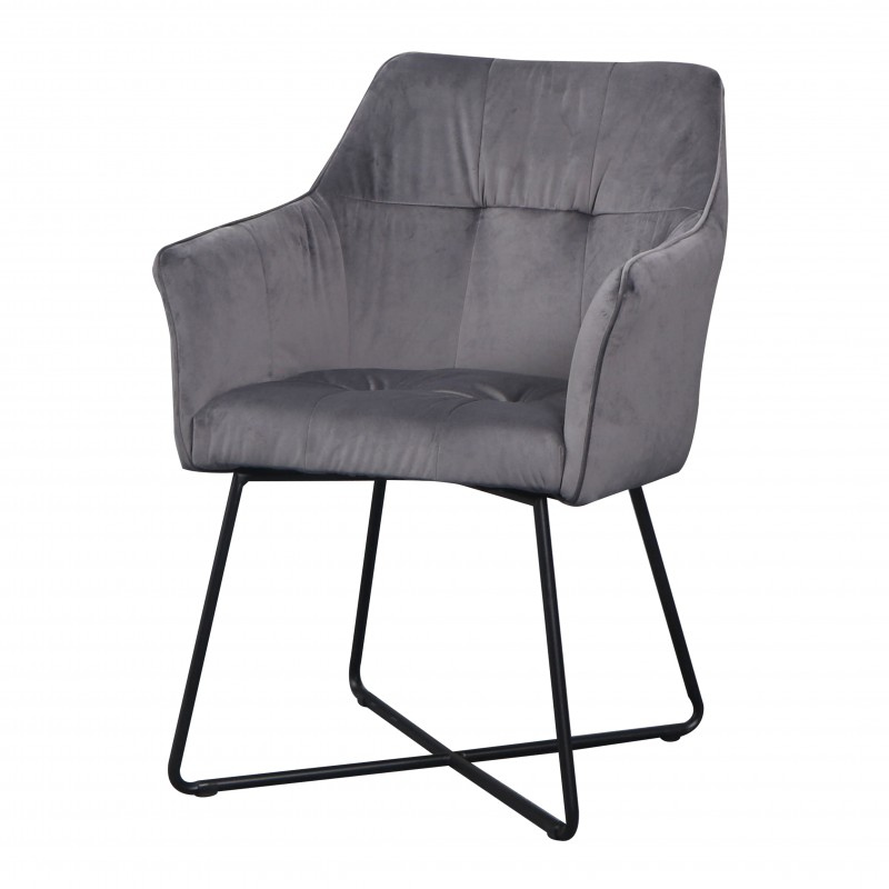 Jídelní židle Owen - stříbrno-šedá, samet / 38860 - 1ks skladem