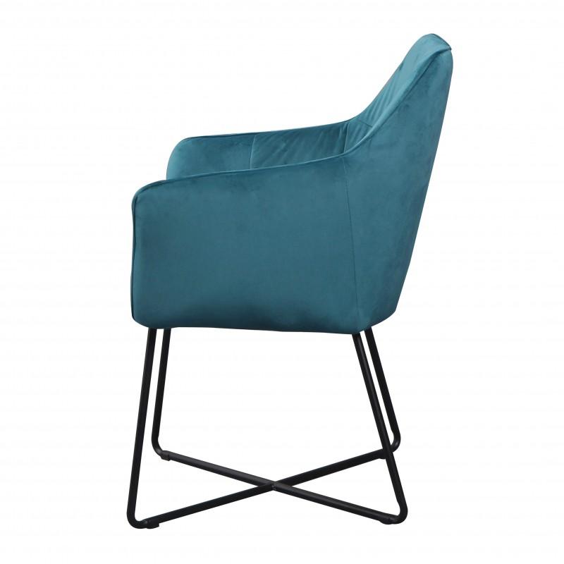 Jídelní židle Owen - tyrkysová, samet / 38861