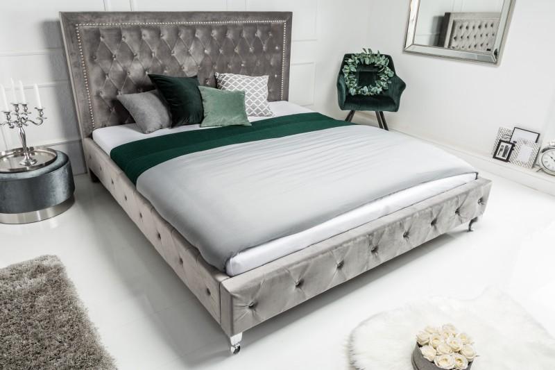 Extravaganční postel 180x200cm stříbrná šedá / 38968