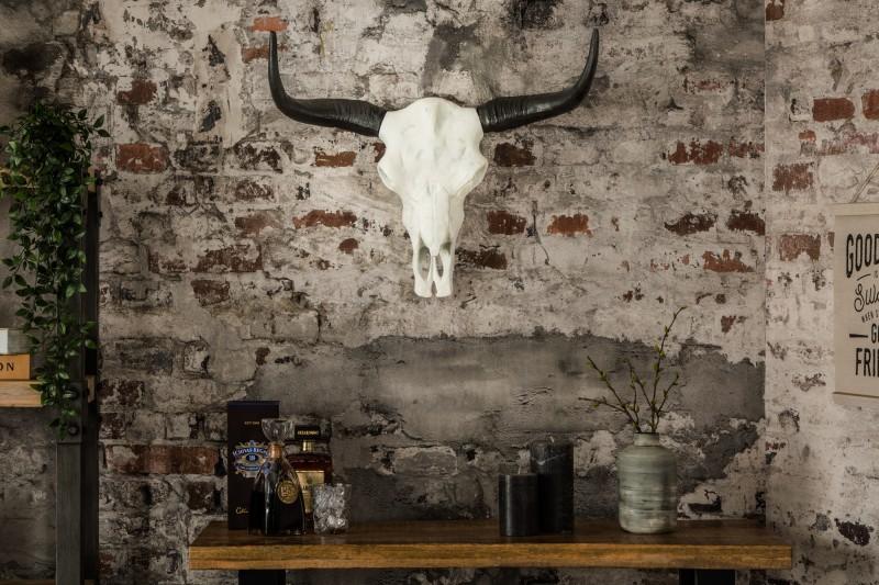 Dekorační lebka El Toro 70cm bílá černá / 37914