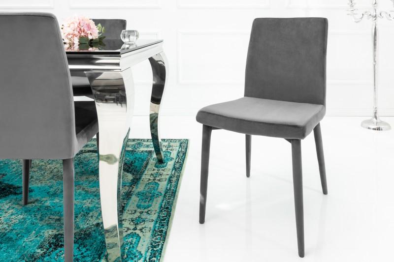 Jídelní židle Doris - šedá, samet / 38849