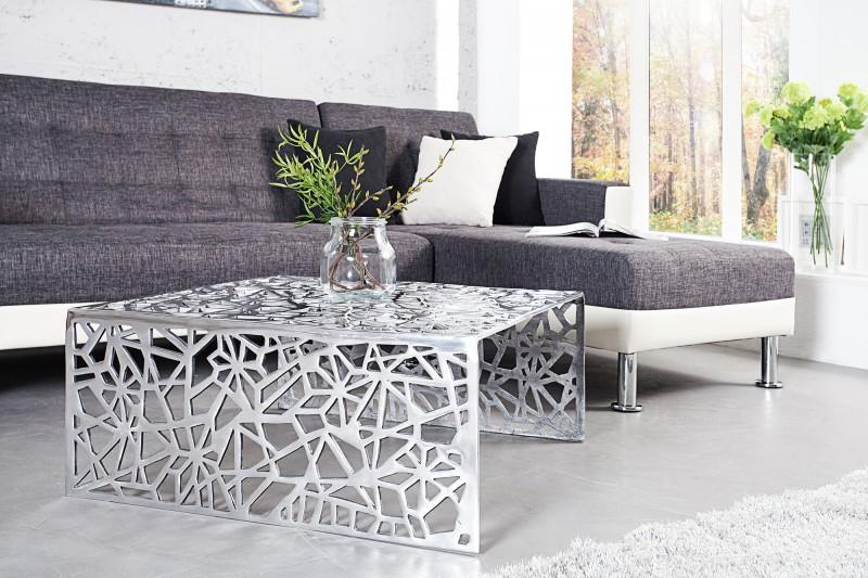 Konferenční stolek Alloy 60cm x 60cm - stříbrný / 35722