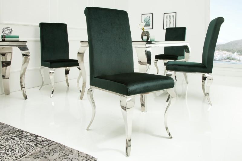 Stuhl modern barock samt edelgrün