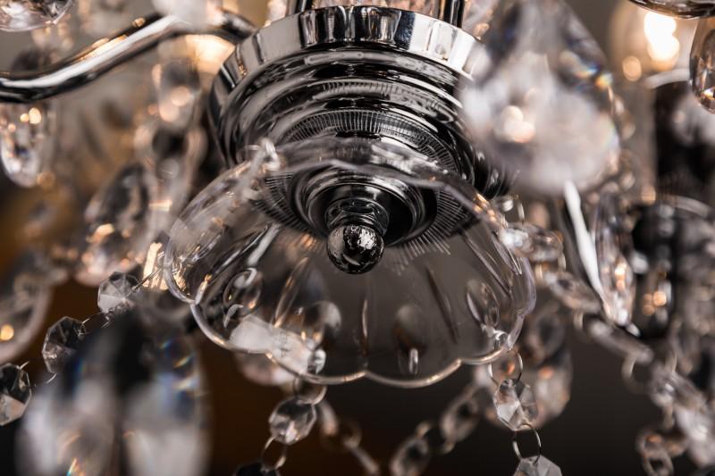 Závěsné světlo Diamond / 5 ramen - akryl, chrom / 7229