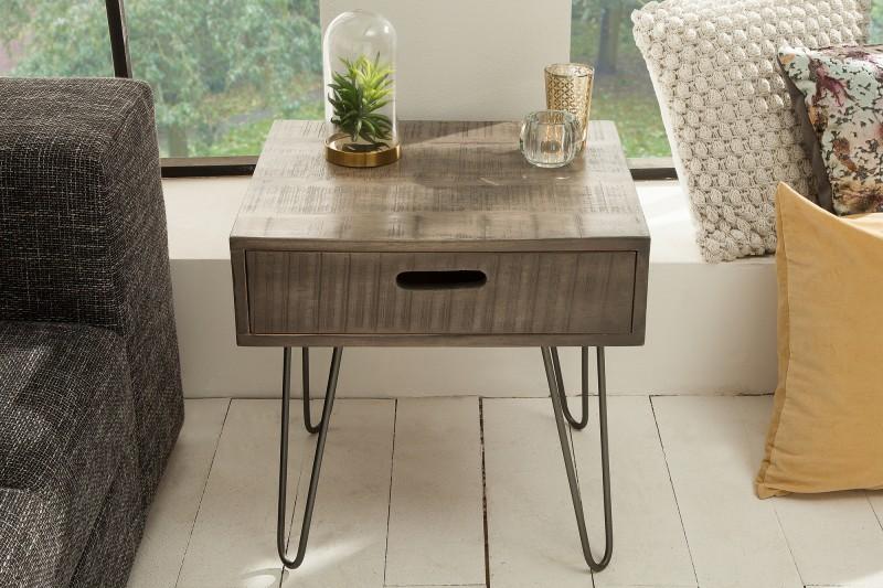 Konferenční stolek Scorpion 50cm x 50cm - mango šedé / 38643