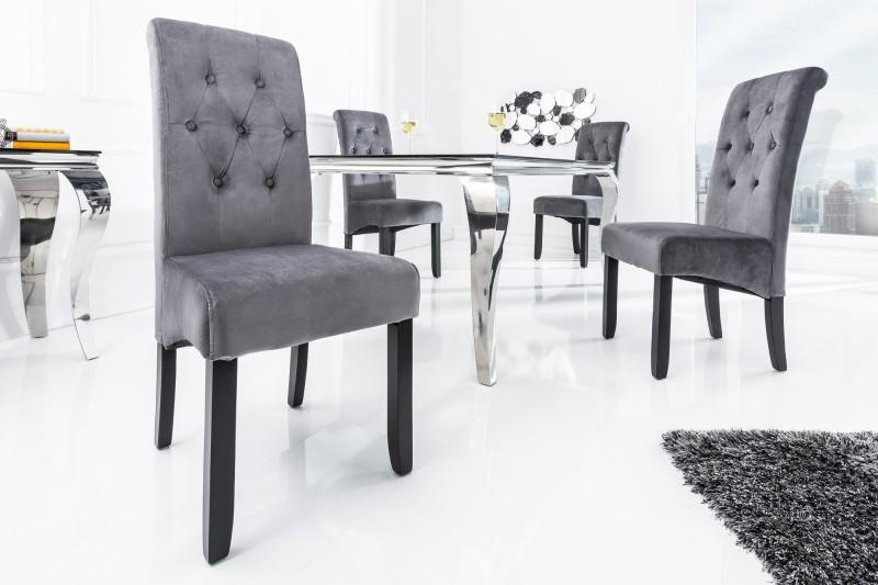 Jídelní židle Cassa - šedá, samet / 38979