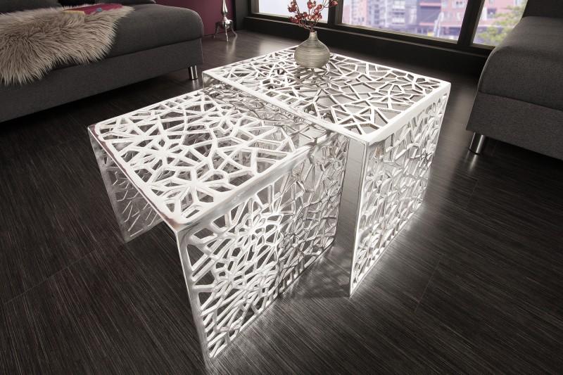 Konferenční stolek Alloy 2ks - stříbrný / 38965