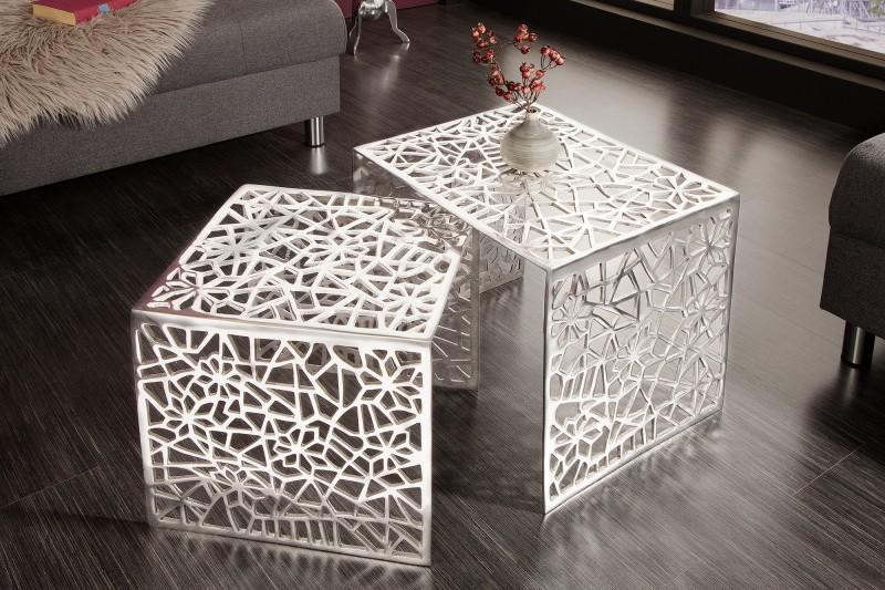 Konferenční stolek Abstract 2ks stříbrná / 38965