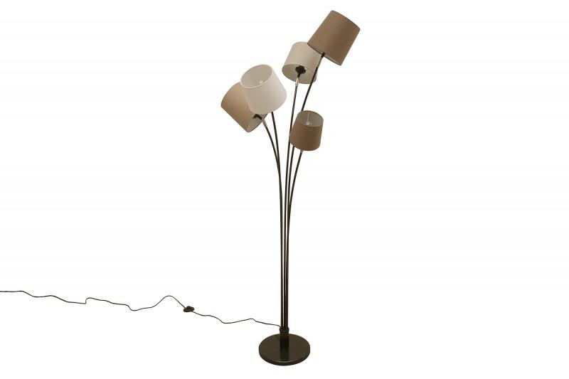 Stojací lampa Friida - bílá, béžová, hnědá / 39059
