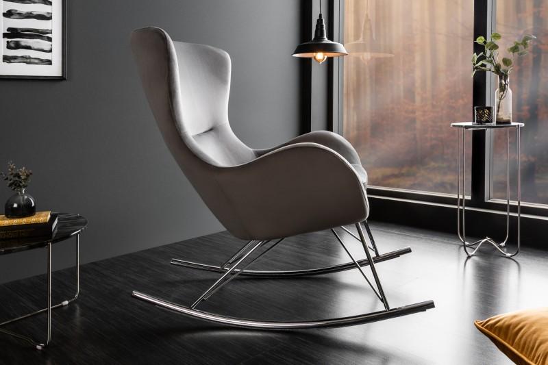 Houpací křeslo Nordic Swing Chrome - šedé, samet / 39000