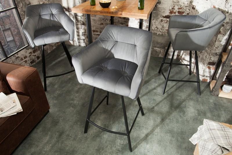 Barová stolička Telma stříbrná šedá loketní opěrka / 39079