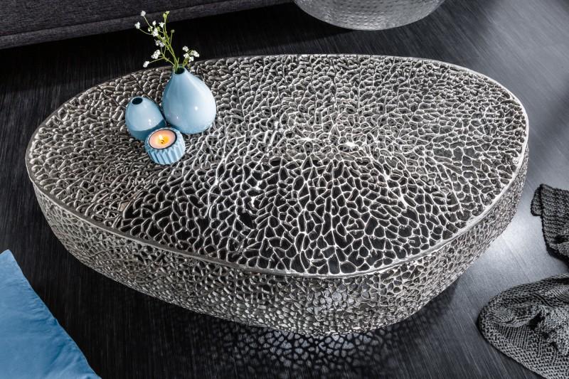 Konferenční stolek Leaf 122cm stříbrný / 38939