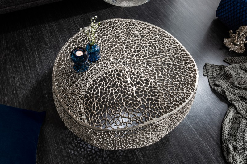 Konferenční stolek Leaf 80cm stříbrný / 38941