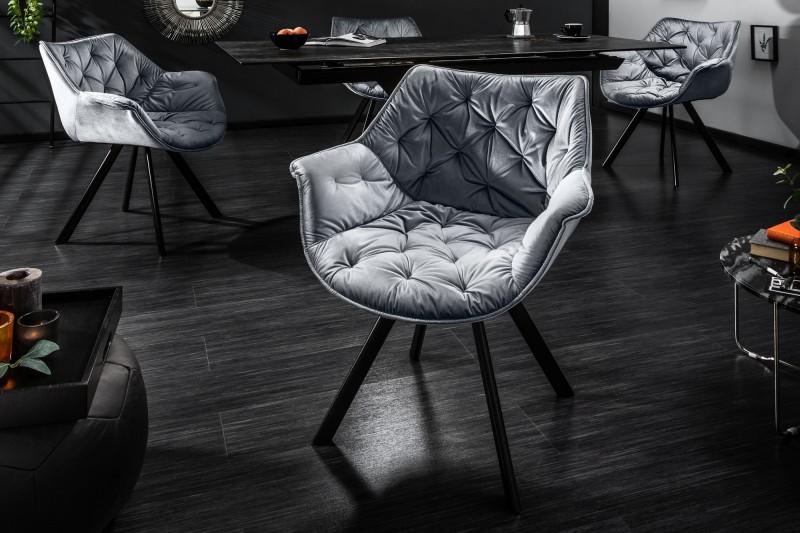 Jídelní židle Molly Comfort Quilting - šedá, samet / 39176