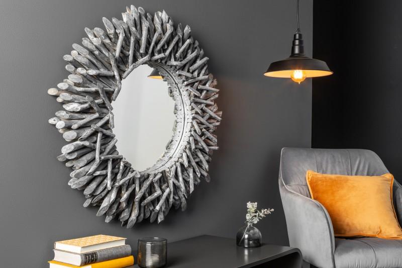 Nástěnné zrcadlo Riverside 80cm - naplavené dříví, šedé / 38796