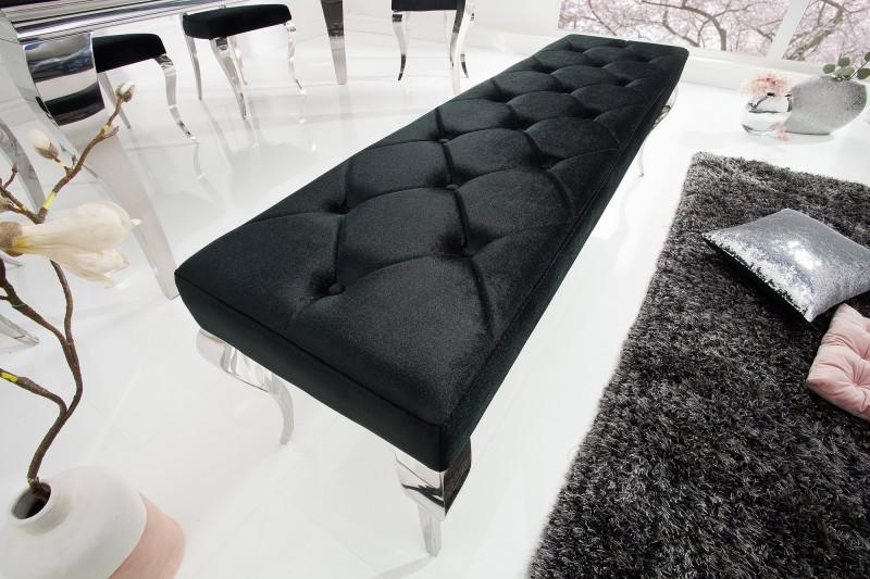 Lavička moderní barokní 170cm černá / 39160