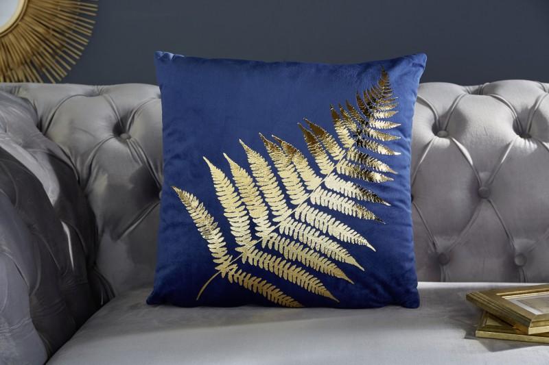 Sametový polštářek zlatý kapradina list tmavě modrý / 39215
