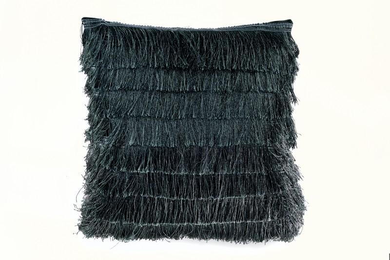 Sametový polštářek s třásněmi tmavě zelené / 39217