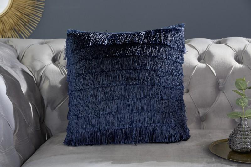 Sametový polštář s třásněmi tmavě modrá / 39219