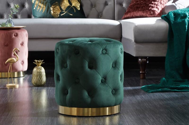 Stolička Modern Baroque Chester tmavě zelené zlato / 39241