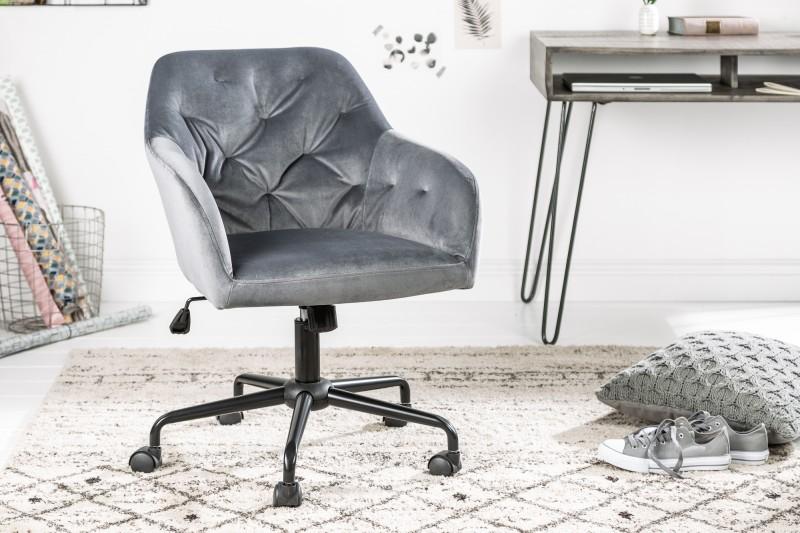 Kancelářská židle Monica - šedá, samet / 39350