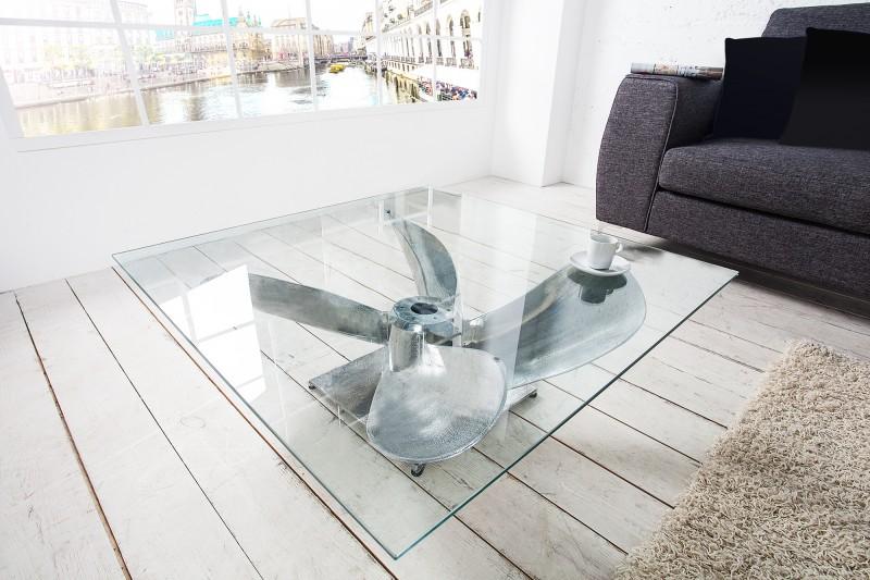 Konferenční stolek Screw 85cm x 85cm - stříbrný / 36469T