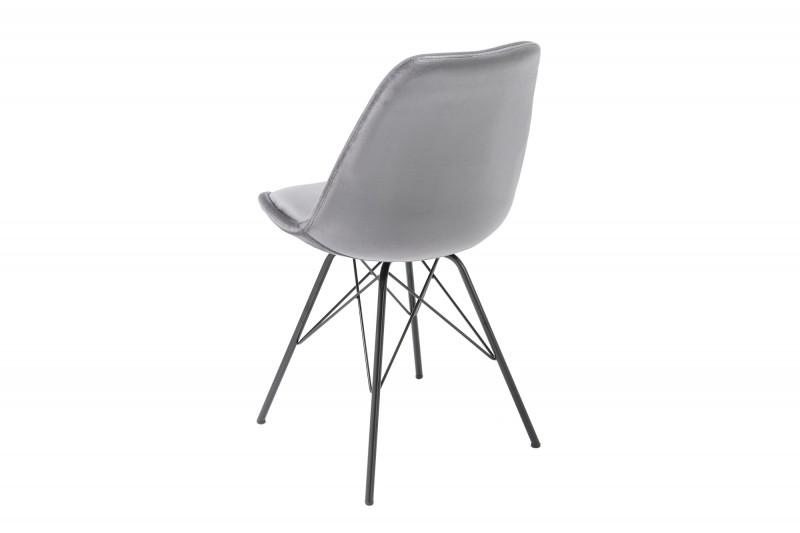 Skandinávská retro židle stříbrně šedý samet / 39302