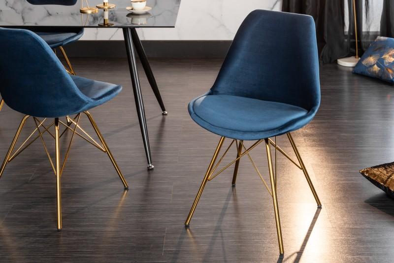 Skandinávská retro židle tmavě modré zlato / 39304