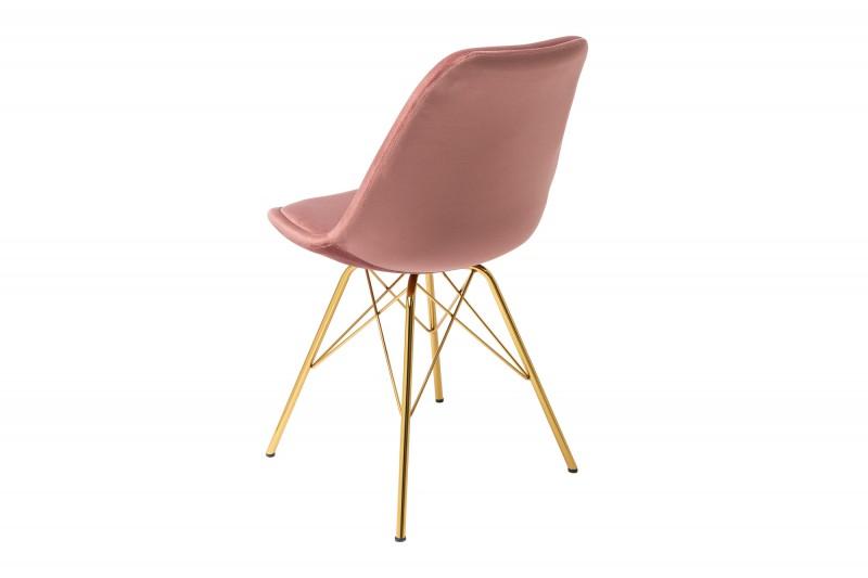 Jídelní židle Scandinavia Gold - růžová, samet / 39305