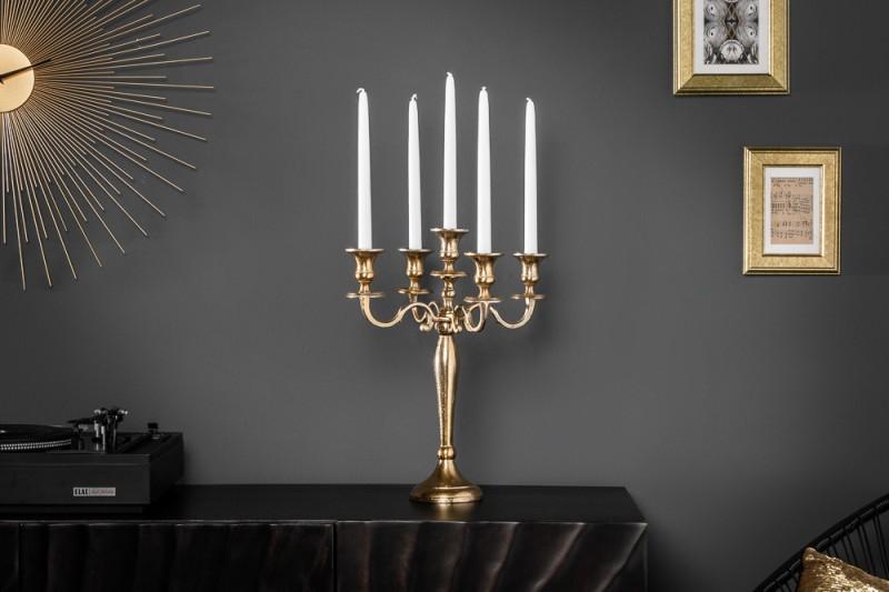 Držák na svíčku, 5 ramen, zlato 40cm / 20409