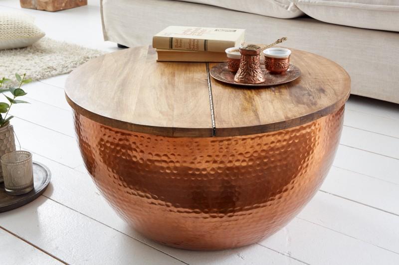 Konferenční stolek Sidon Natural 60cm - měď, mango / 39253