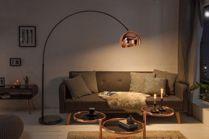 Stojací lampa Big Bow 170-210cm - růžové zlato / 39372