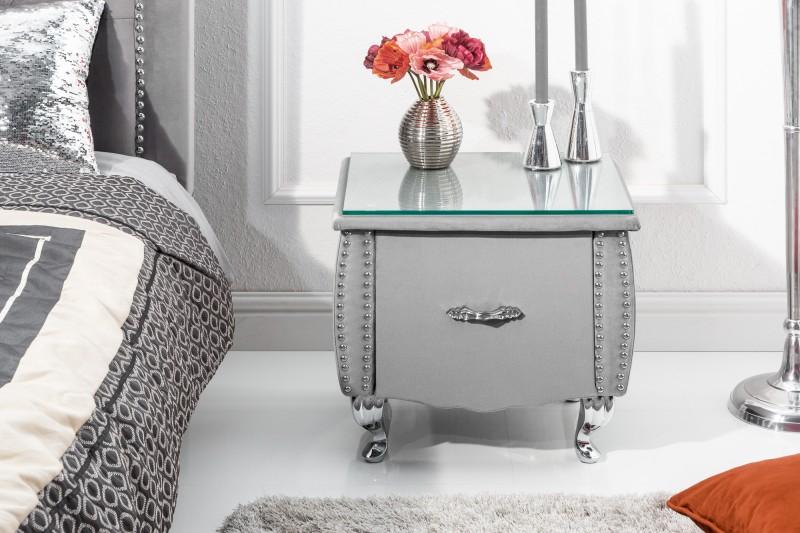 Noční stolek Paradise 47cm x 45cm - stříbrno šedá, samet / 39357