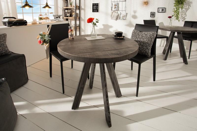 Jídelní stůl Iron Craft 80cm kulaté šedé mango / 39368