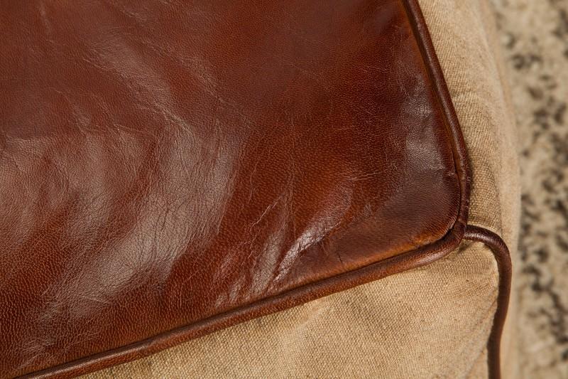 Pouf Mustang 45cm hnědé kožené povlečení / 39525