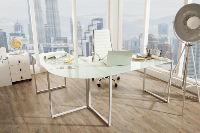 Pracovní stůl Corner Table - mléčné sklo / 38847