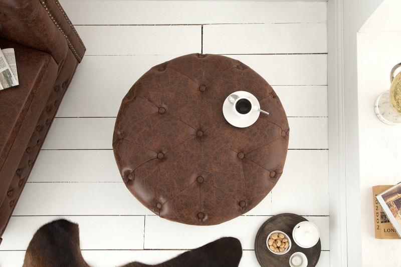 Taburet Chesterfield 60cm - vintage hnědá / 39423
