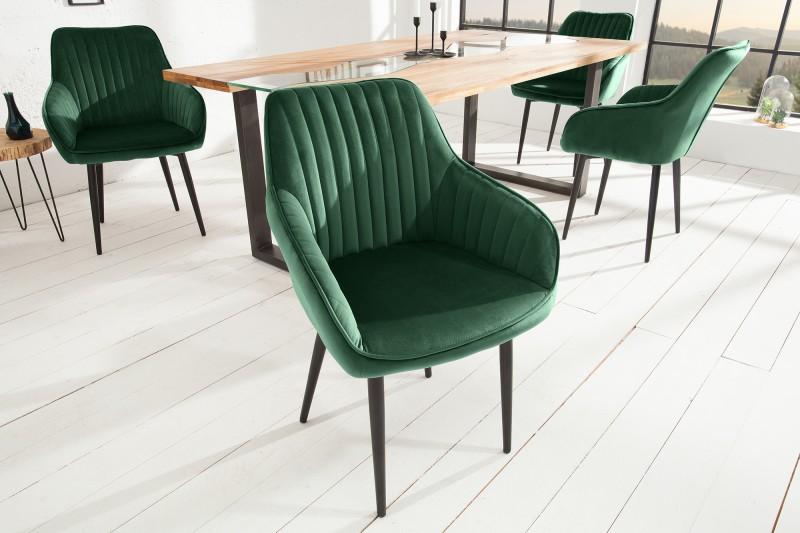 Jídelní židle Monroe - smaragdově zelená, samet / 39526