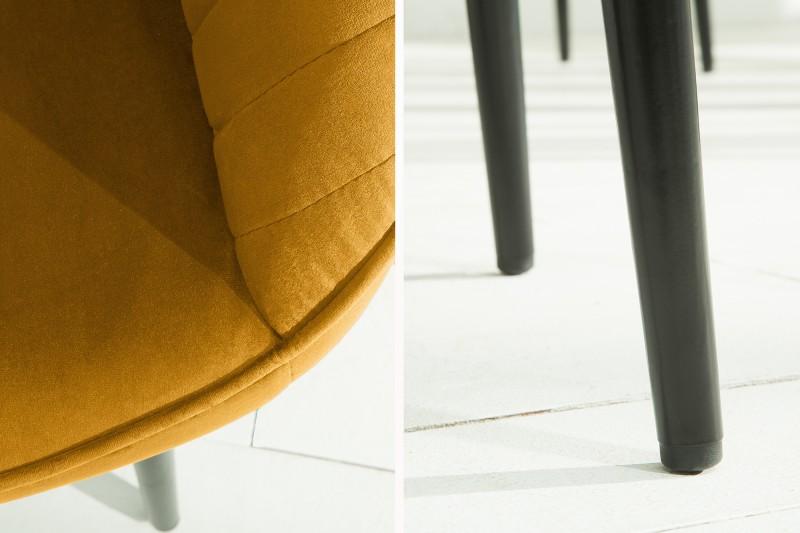 Jídelní židle Monroe - hořčičná žlutá, samet / 39528