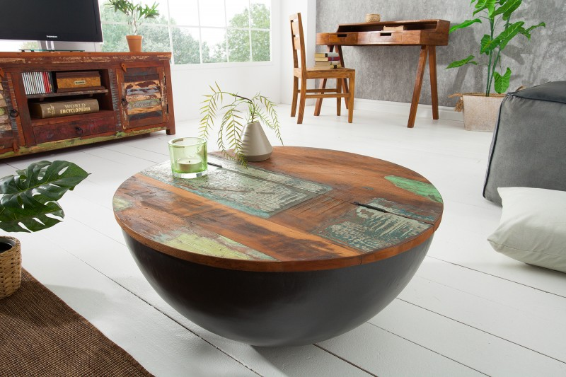 Konferenční stolek Jakarta 70 cm - šedé recyklované dřevo / 39311