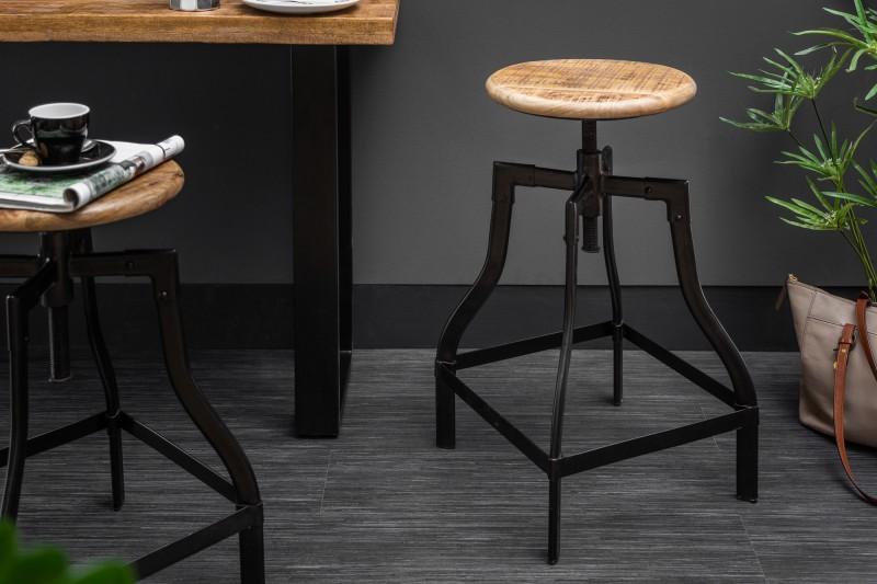 Barová židle Iron Craft 60-74cm přírodní mango / 39397