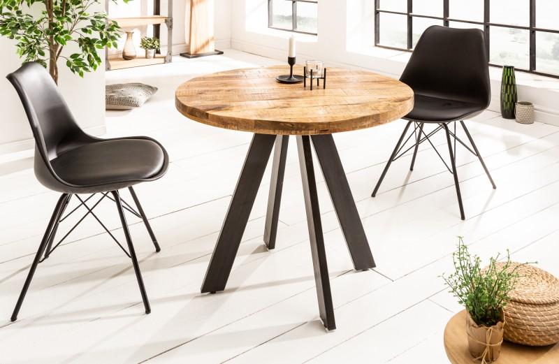 Jídelní stůl Iron Craft 80cm kulatý přírodní mango / 39400