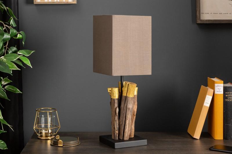 Stolní lampa PureNature 45cm zlaté naplavené dříví / 39622
